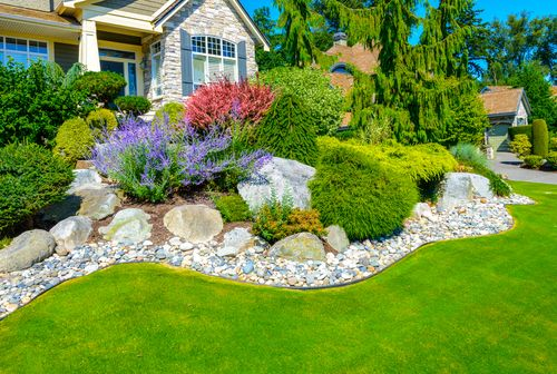 beautifully landscaped yard with flowers